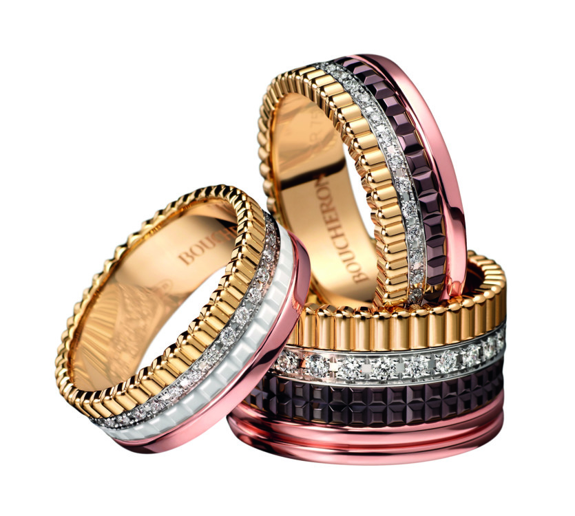 Кольца Quatre S and L с бриллиантами и кольцо Quatre White Edition Composition 1