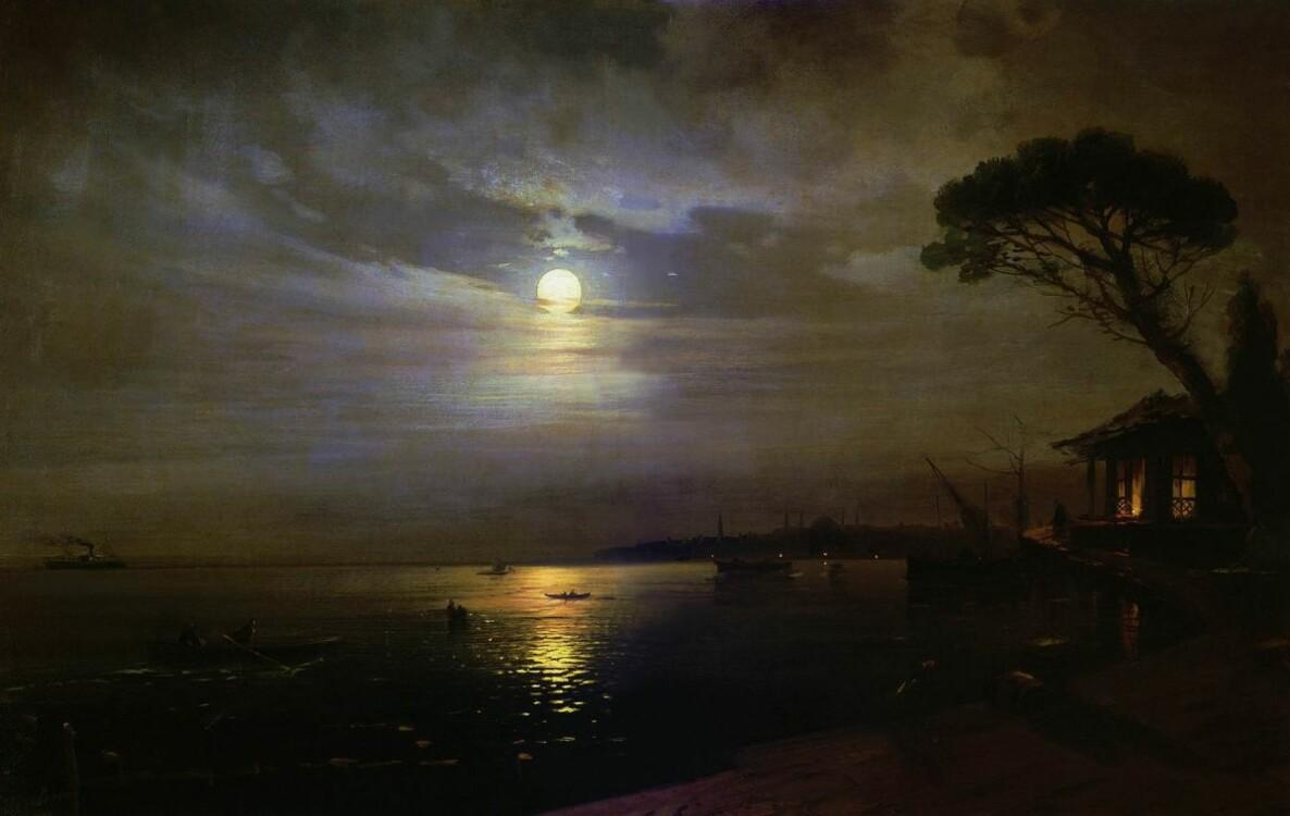 Айвазовский картины «Лунная ночь», 1888 (Центральный военно-морской музей, Санкт-Петербург)