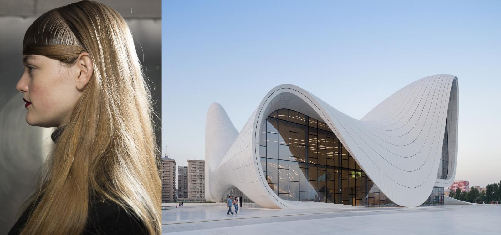Прическа с показа Mary Katrantzou, осень-зима 2016, и Центр Гейдара Алиева (архитектор - Заха Хадид) в Баку
