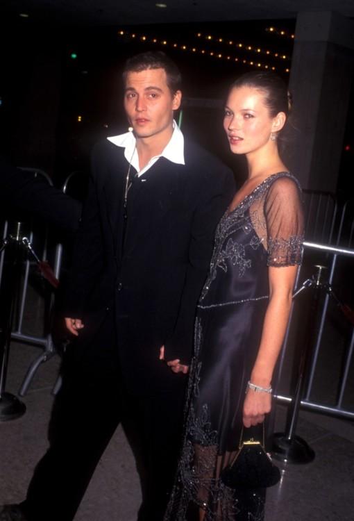 Джонни Депп и Кейт Мосс на премьере фильма «Донни Браско»