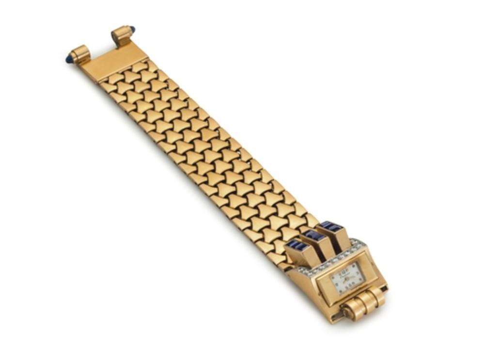 Часы из золота с сапфирами Cartier, 1940-е годы