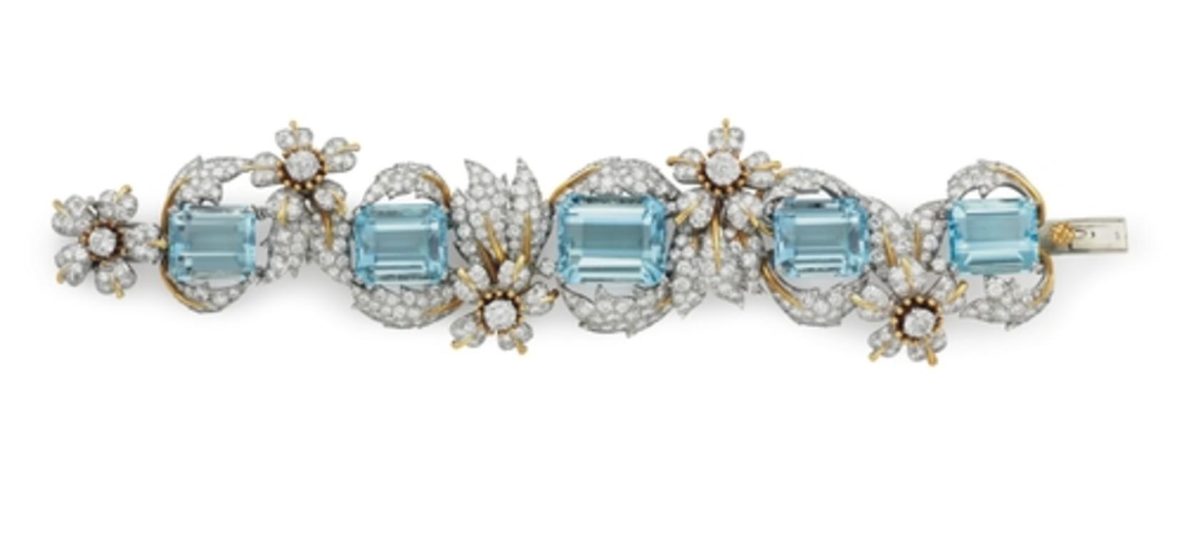 Браслет з платини і золота з аквамаринами Tiffany & Co.
