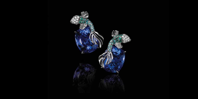 Серьги из коллекции High Jewelry by Tiffany & Co, платина, турмалины, бриллианты, танзаниты огранки «кушон» (13,04 карата), Tiffany & Co