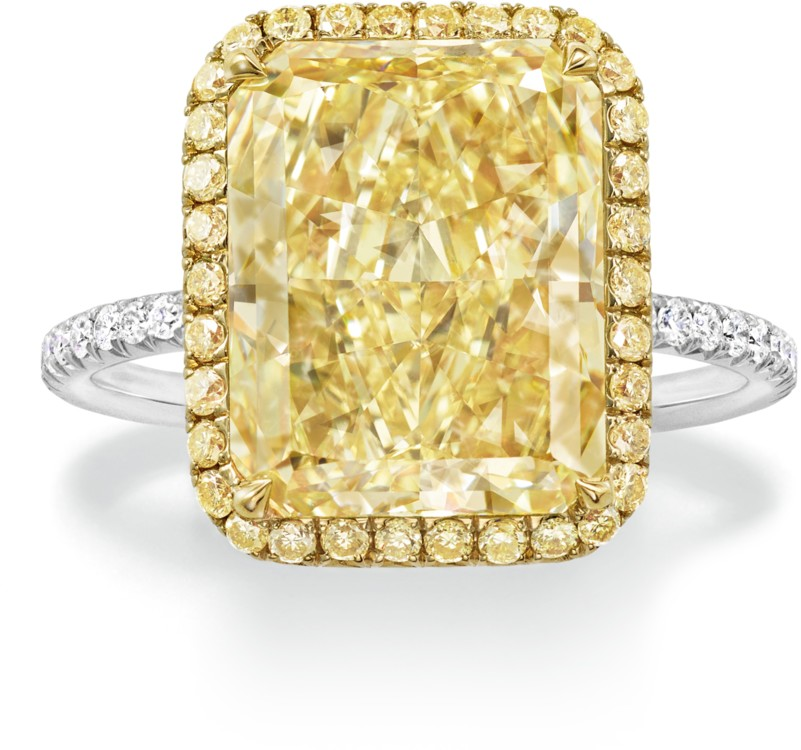 Кольцо, желтые и белые бриллианты, желтое золото, платина, Harry Winston