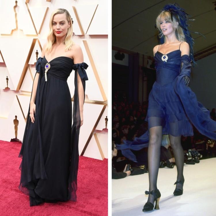 """Марго Робби отдала дань уважения Клаудии Шиффер на церемонии вручения премии """"Оскар-2020"""" в платье, которое супермодель носила на показе Chanel в 1994 году."""