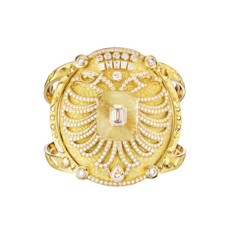 Браслет Aigle Cambon, желтое золото, кварц, бриллианты