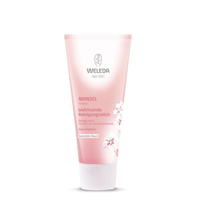 Делікатне молочко для очищення обличчя, Weleda. Підійде алергікам, тим, хто страждає нейродермітом, людям з чутливою шкірою. Воно відмінно очищає і тонізує, а також знімає роздратування. Містить мигдальну олію і олію кісточок сливи