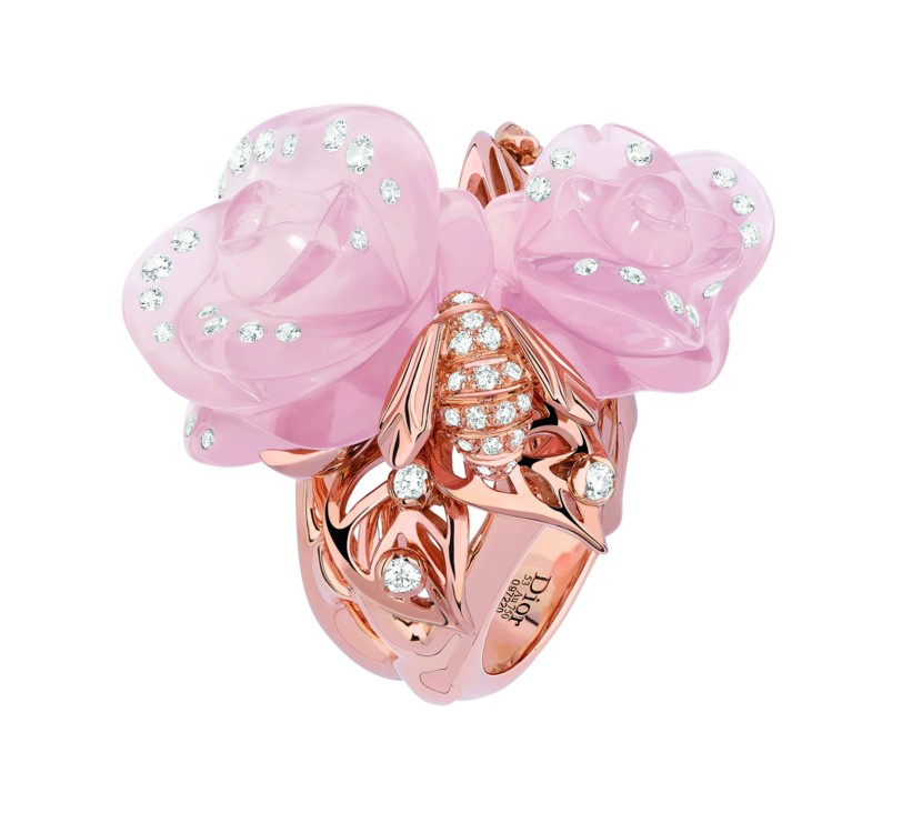 Розовое золото, бриллианты и розовый кварц