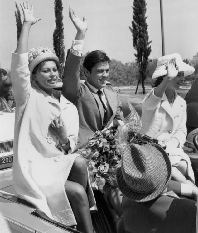 Софи Лорен, Ален Делон и Роми Шнайдер на Каннском фестивале в 1962 году