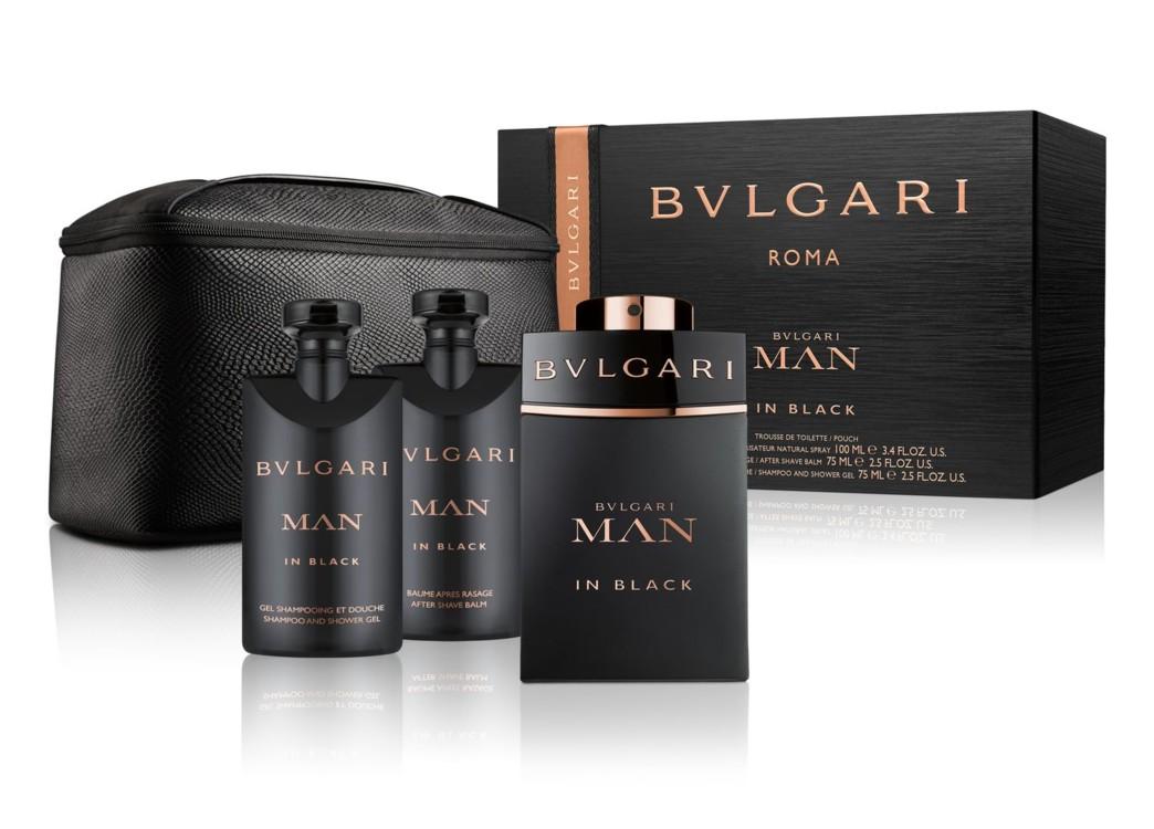 Мужской подарочный набор Bulgari Man in Black: шампунь и гель для душа, бальзам после бритья, туалетная вода и несессер, все – Bulgari