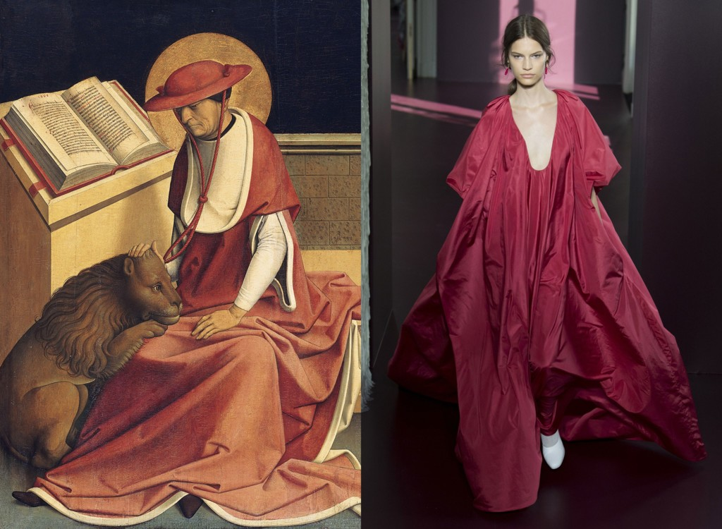«Святой Иероним в кардинальском облачении», Master of Grossgmain, 1480–1490; Valentino Couture осень-зима 2017/2018