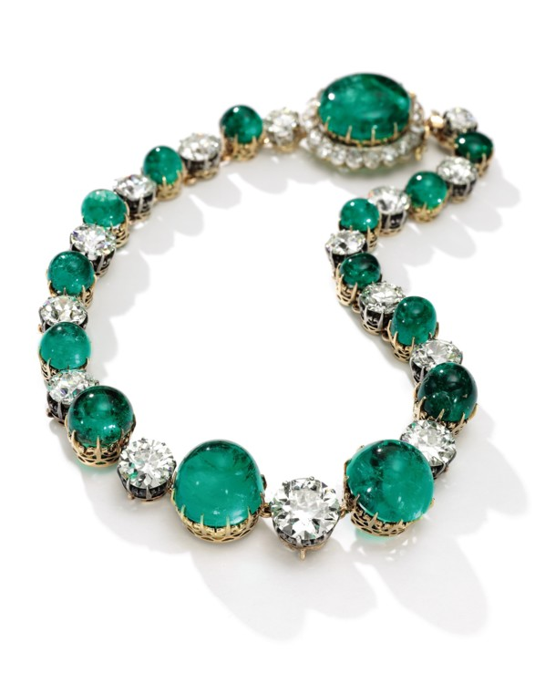 Лот 346 - Emerald and diamond necklace, Sotheby's