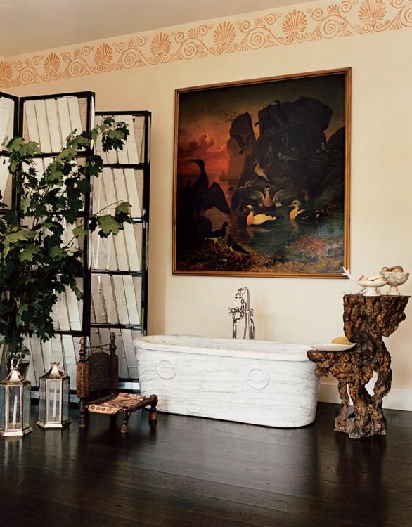 В коннектикутском особняке Дианы фон Фюрстенберг в комнате для йоги можно найти мраморную ванну «Cloudwalk». Фото: Франсуа Алар, Vogue, 2006