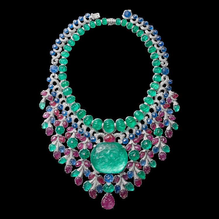 Колье/ брошь Magicien, платина, изумруды, рубины, сапфиры, бриллианты, Cartier High Jewelry