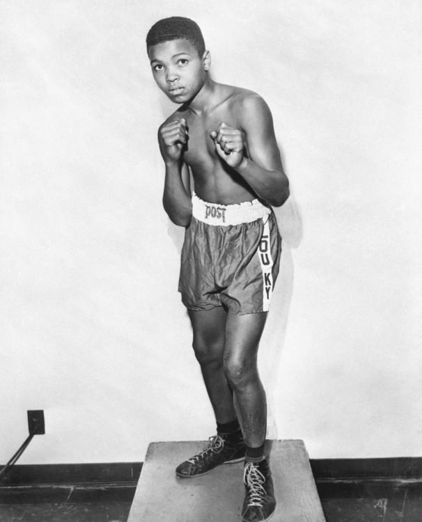 12-летний Кассиус Клей (позже Мухаммед Али) демонстрирует свою лучшую боксерскую стойку, 1954