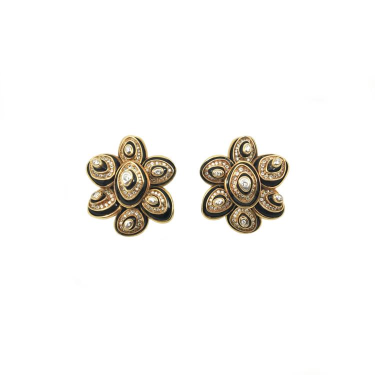 Сережки Bulgari, платина, золото, онікс, діаманти, 1970