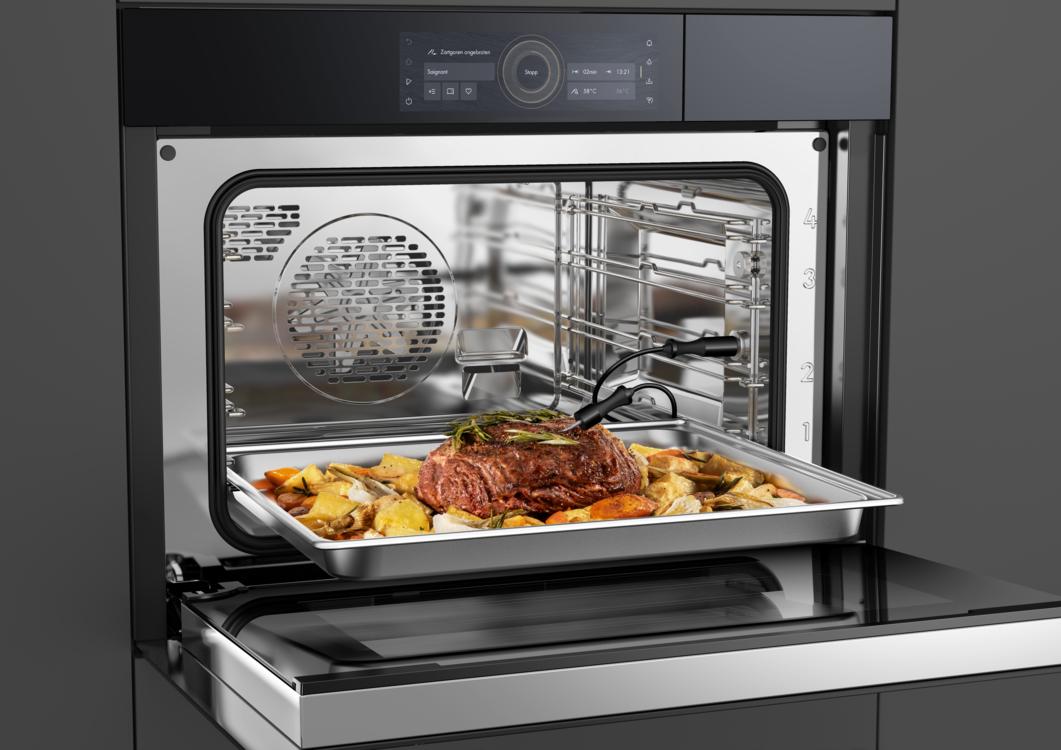 Трехточечный температурный зонд (термощуп) позволяет достигать идеальной степени приготовления блюда с помощью отслеживания температуры внутри продукта