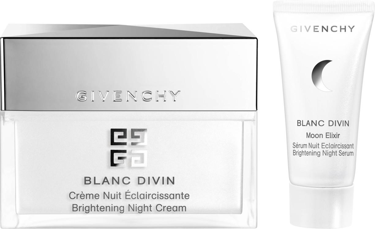 Набор для осветления кожи и придания ей яркости: осветляющий ночной крем Brightening Night Cream Blanc Divin и сыворотка Moon Elixir Night Serum, Givenchy