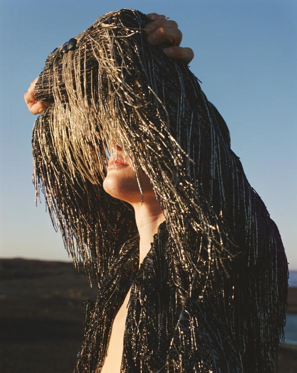 Жакет из тюля, украшенный бахромой из бисера, Gucci