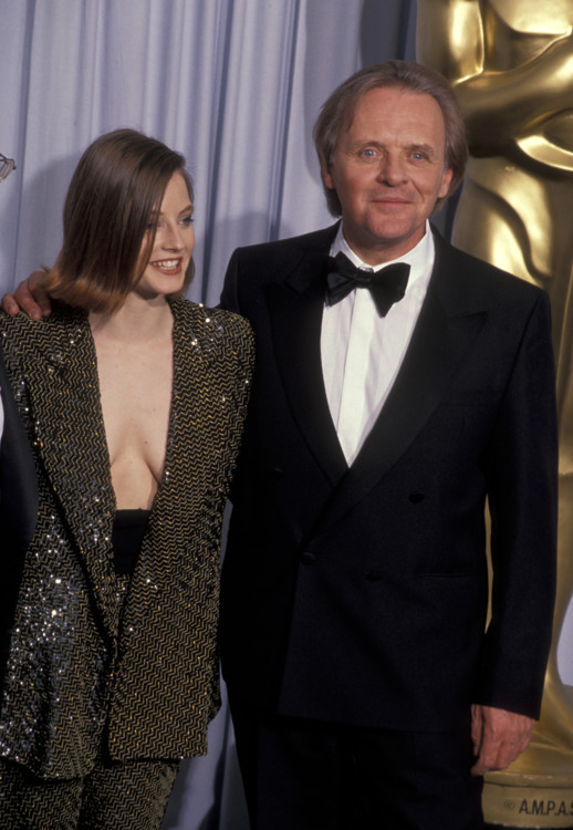 Джуди Фостер и Энтони Хопкинс на 63-й церемонии вручения премии «Оскар», 1991 год