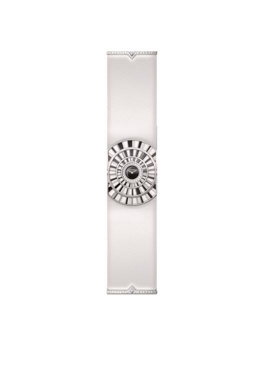 Часы Baignoire Infinie из коллекции Libre, корпус из белого золота, бриллианты огранки «багет», шпинели, перламутр, Cartier. Лимитированная серия из 20 экземпляров