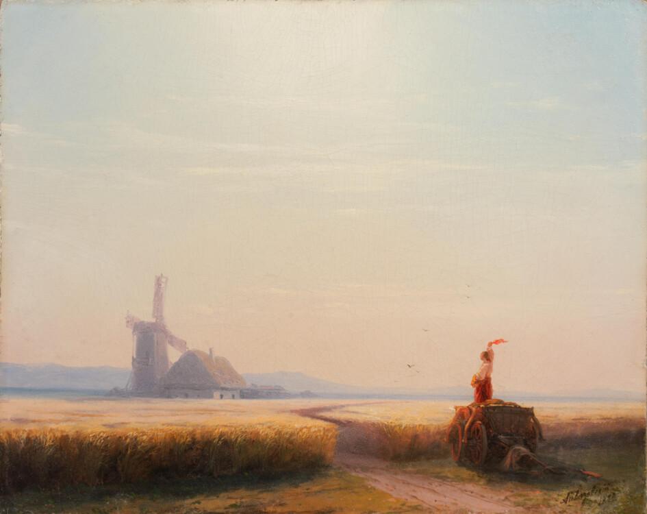 Айвазовский картины «Украина. Пейзаж с мельницей», 1859 (Русский центр искусства)