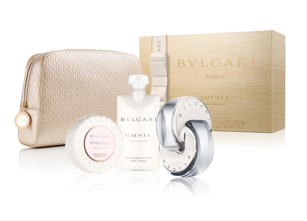 Женский подарочный набор Bulgari Omnia: парфюмированное мыло, лосьон для тела, туалетная вода и косметичка, все – Bulgari