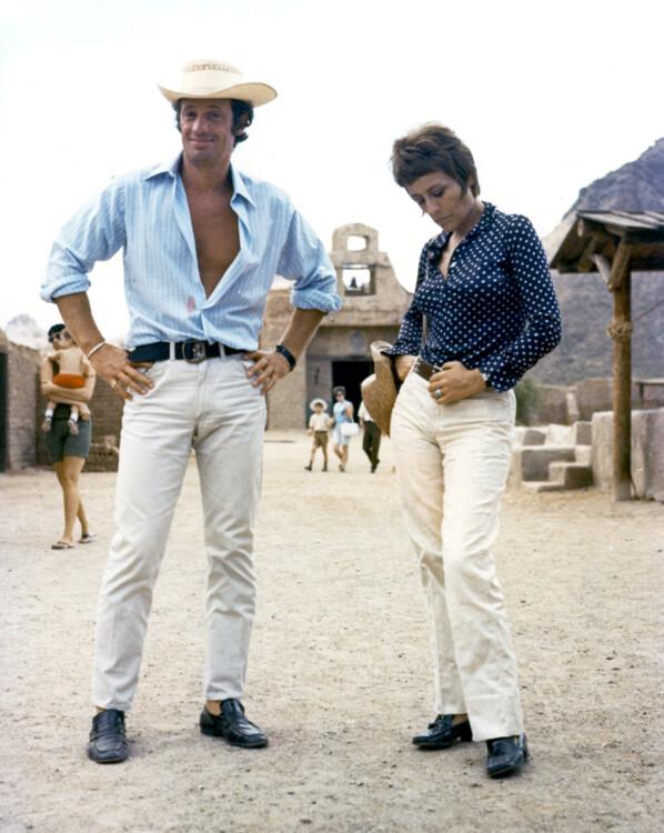 """С актрисой Анни Жирардо на съемках фильма """"Мужчина, который мне нравится"""", 1969"""