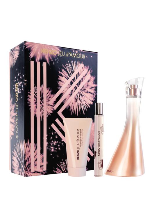 Женский подарочный набор Jeu d'Amour: молочко для чувствительной кожи, парфюмированная вода 50 мл и дорожная версия, 15 мл, все - Kenzo