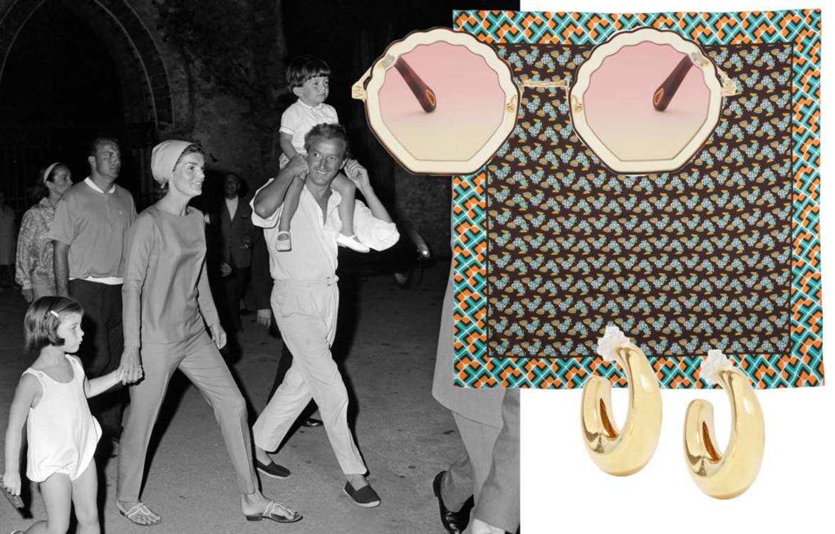 Солнцезащитные очки Chloé, винтажный шарф, серьги Leigh Miller