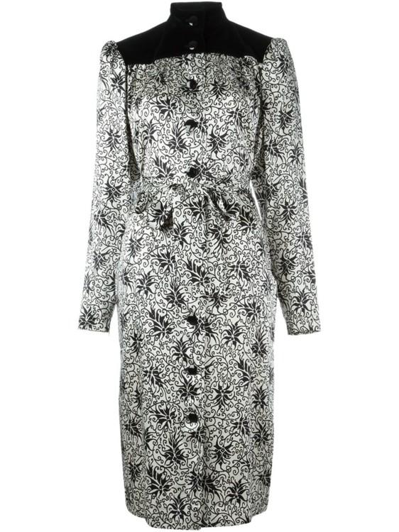 Черное с кремовым шелковое платье-рубашка с комбинированным принтом, Yves Saint Laurent Vintage.