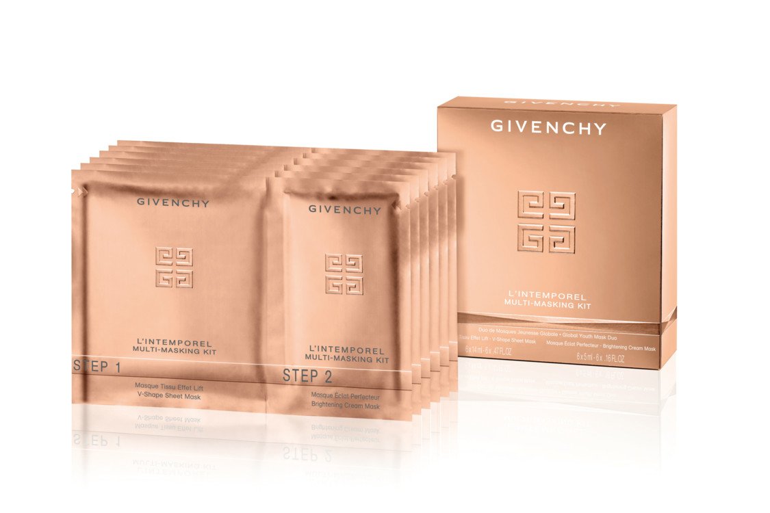 Набор масок L'Intemporel, Givenchy: тканевая маска для нижней части лица с комплексом Timeless Blend, и кремовая маска для верхней части лица