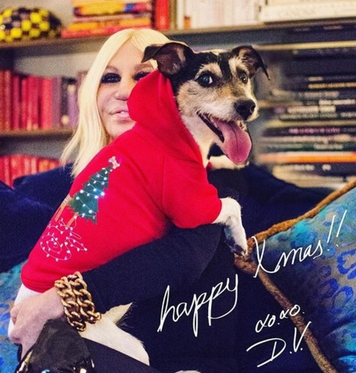 Донателла Версаче с собакой Одри