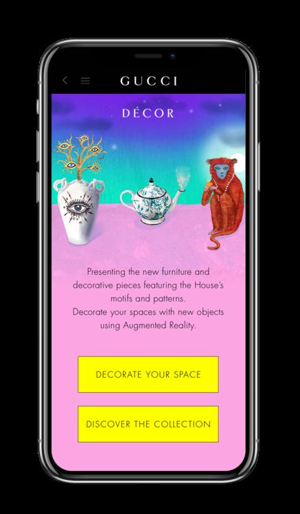 Раздел Décor в приложении Gucci