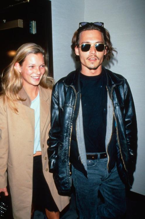 Кейт Мосс и Джонни Депп, январь 1988