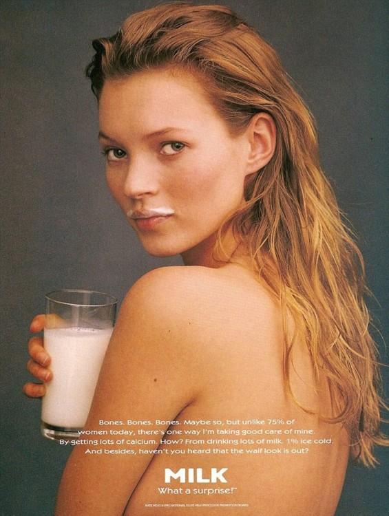 Кейт Мосс в рекламной кампании GOT MILK,1996 год