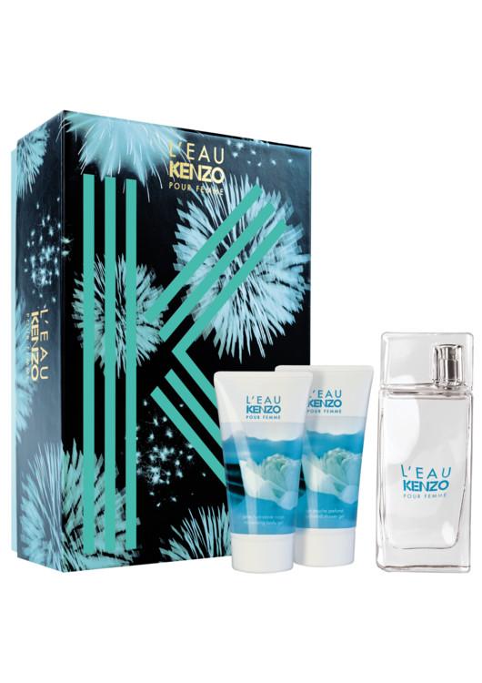Женский подарочный набор L'Eau Kenzo: парфюмированный гель для душа, увлажняющий гель для тела, туалетная вода, все - Kenzo