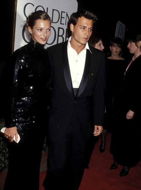 Кейт Мосс и Джонни Депп на 52-й церемонии вручения премии «Золотой глобус», 1995