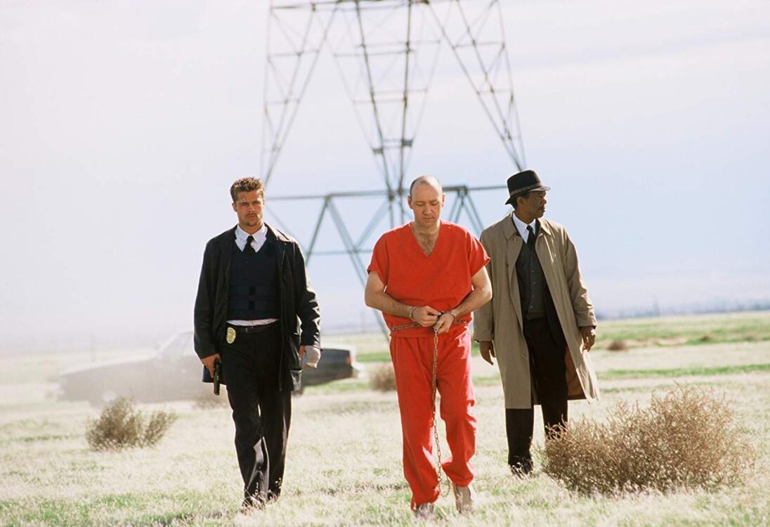 Бред Пітт, Кевін Спейсі та Морган Фрімен у фільмі «Сім», 1995