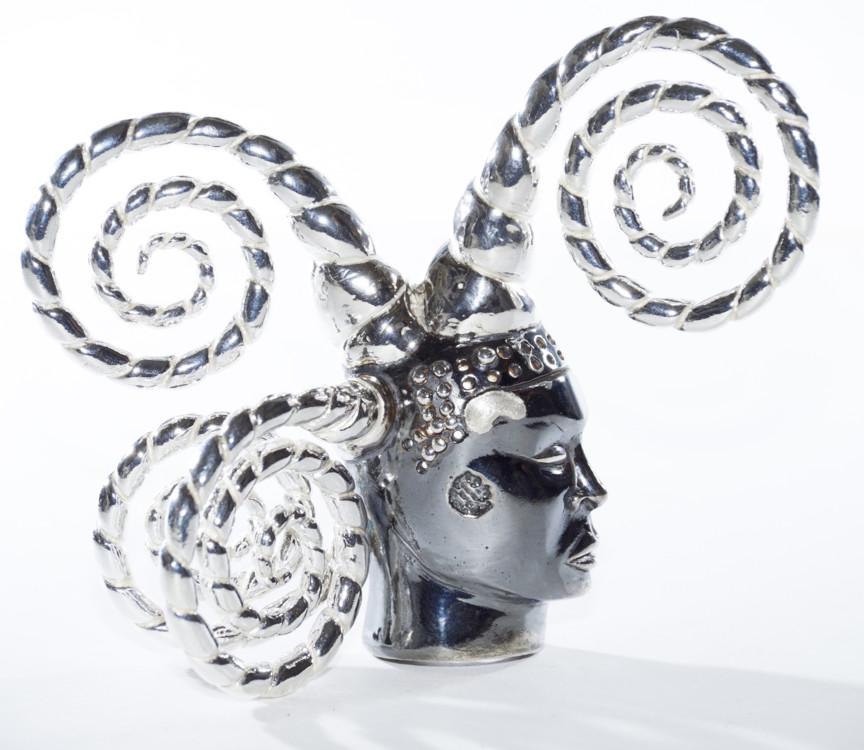 Брошь Tête de fou, золото, серебро, 2010, Орлан, серия лимитирована 8 экземплярами