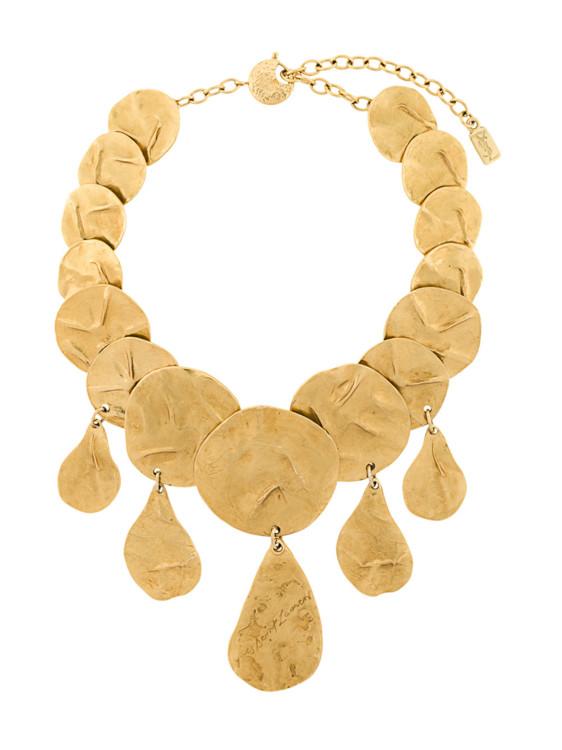 Золотистое ожерелье с чеканной отделкой Dramatic, Yves Saint Laurent Vintage