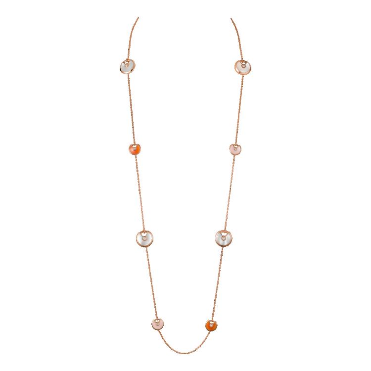 КОЛЬЕ AMULETTE DE CARTIER, МАЛЕНЬКАЯ МОДЕЛЬ, Розовое золото, белый перламутр, розовый опал, сердолик, бриллианты
