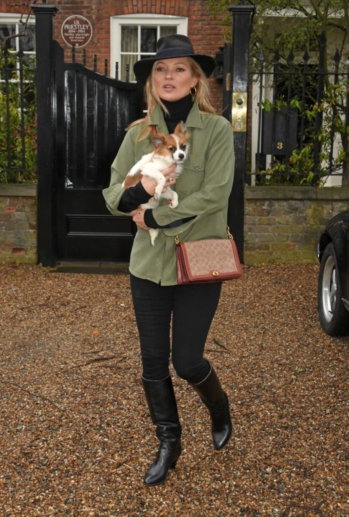 Кейт Мосс со своей собакой в Лондоне, 2018 год