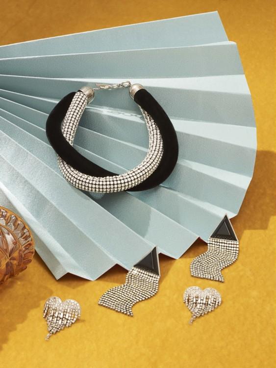 Бархатное ожерелье с кристаллами, серьги, латунь, кристаллы, все – Saint Laurent by Anthony Vaccarello