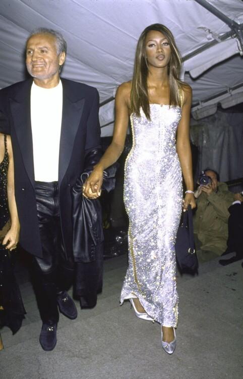 Джанни Версаче и Наоми Кэмпбелл в Versace, MET Gala 1995