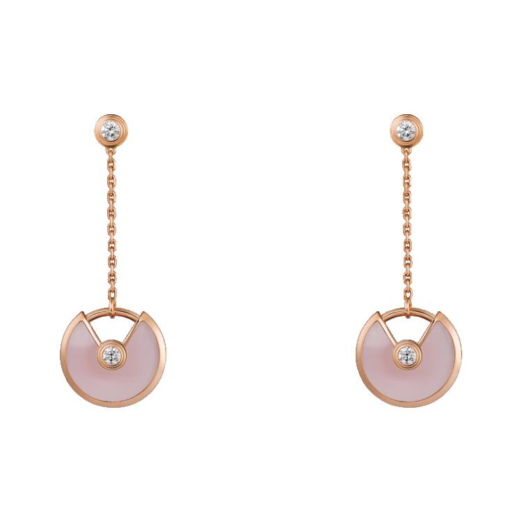 СЕРЬГИ AMULETTE DE CARTIER, МОДЕЛЬ XS, розовое золото, розовый опал, бриллианты