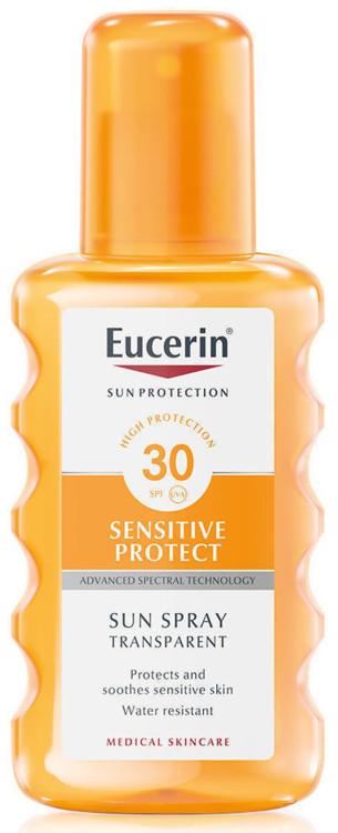 Прозорий сонцезахисний спрей Sensitive Protect, Eucerin, SPF 30+ UVA