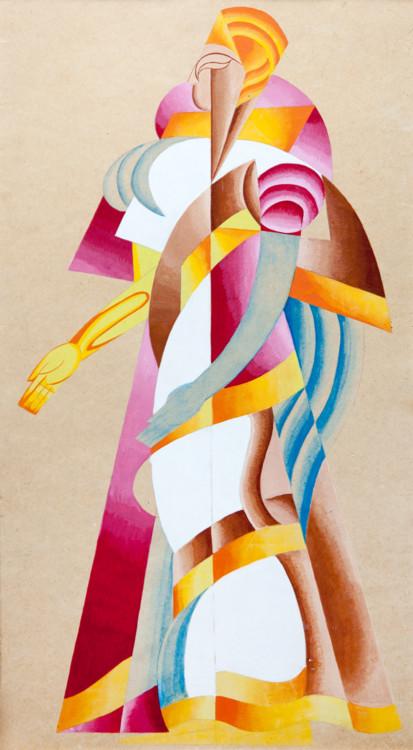 Вадим Меллер. Ассирийские танцы. Эскиз женского костюма. Балетмейстер Бронислава Нижинская, Киев, 1919-20