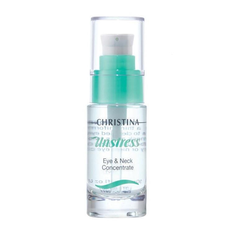 Сыворотка-концентрат для шеи и кожи вокруг глаз Unstress, Christina. Увлажняет, предотвращает потерю влаги, восстанавливает, успокаивает и смягчает