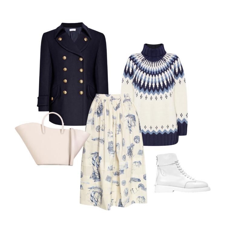 Полупальто, свитер и юбка - P.A.R.O.S.H., сумка Большие сумки LITTLE LIFFNER, обувь Marsell